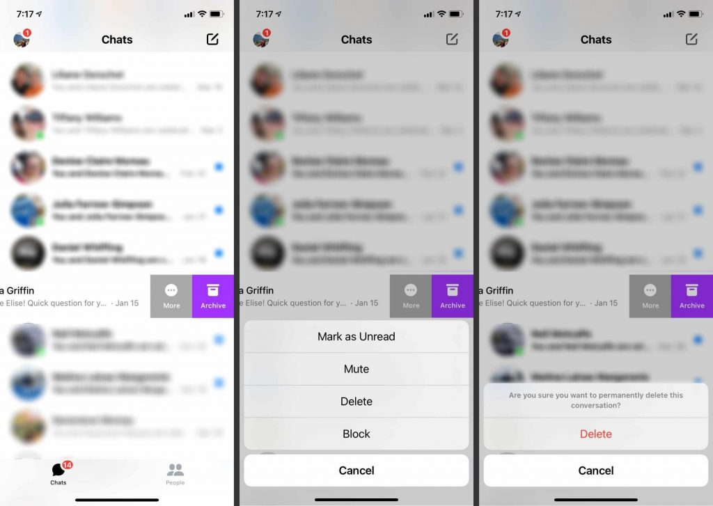 how to delete facebook messenger chat